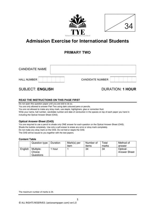 aeis exam paper p2