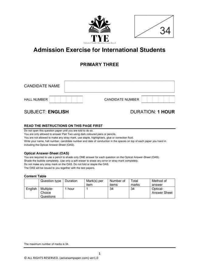 aeis exam paper p3