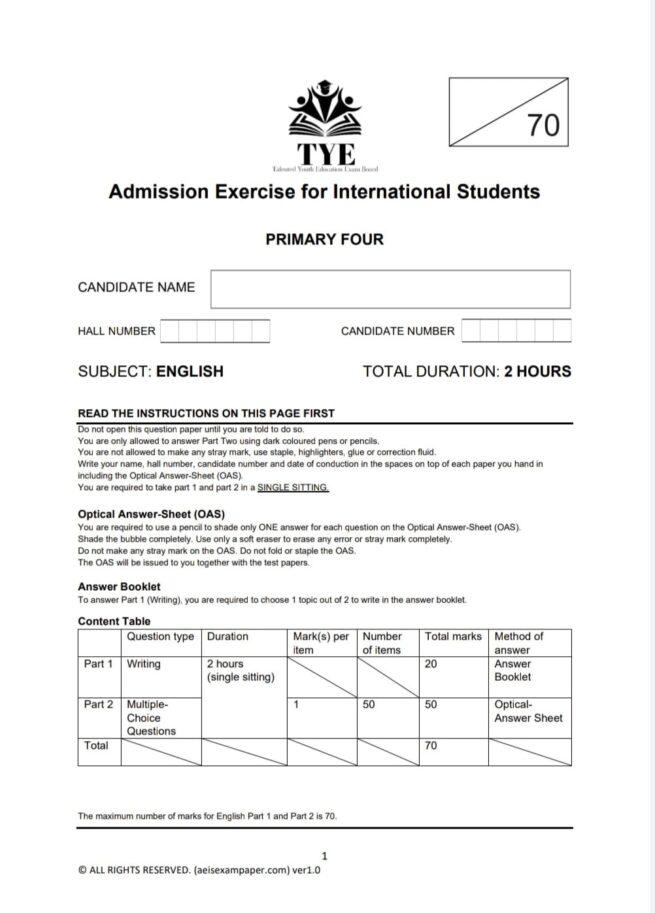 aeis exam paper p4